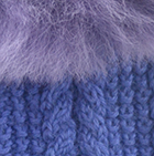 Periwinkle-FurLt.Purple Alpaca Cable Fingerless Gloves with Fur