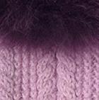 Rose-FurPurple Alpaca Cable Fingerless Gloves with Fur