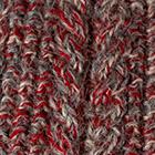 Alpaca Cable Fingerless Gloves in Mixt. Red-Beige-Grey Mlge. | Classic Alpaca Peru