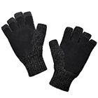 Black-Black Alpaca Half Finger Double Layer Driving Gloves