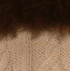 Beige-FurBrown Diamond Cable Alpaca Gloves With Fur