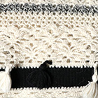 Natural-Black Tassel Trim Baby Alpaca Infinity Scarf