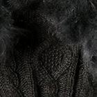 Black-FurCharcoal Diamond Cable Alpaca Gloves With Fur