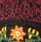 Alpaca Embroidered Leaf Hat - Fleece Lining in Burgundy Mlge. | Classic Alpaca Peru