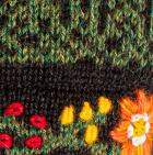 Alpaca Embroidered Leaf Hat - Fleece Lining in Green Mlge. | Classic Alpaca Peru