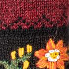 Alpaca Embroidered Leaf Gloves in Burgundy Mlge. | Classic Alpaca Peru