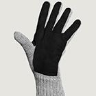 Lt.Grey-Black Alpaca Double Layer Driving Gloves