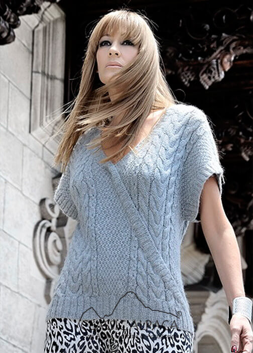 Short - Sleeve Cable Pullover